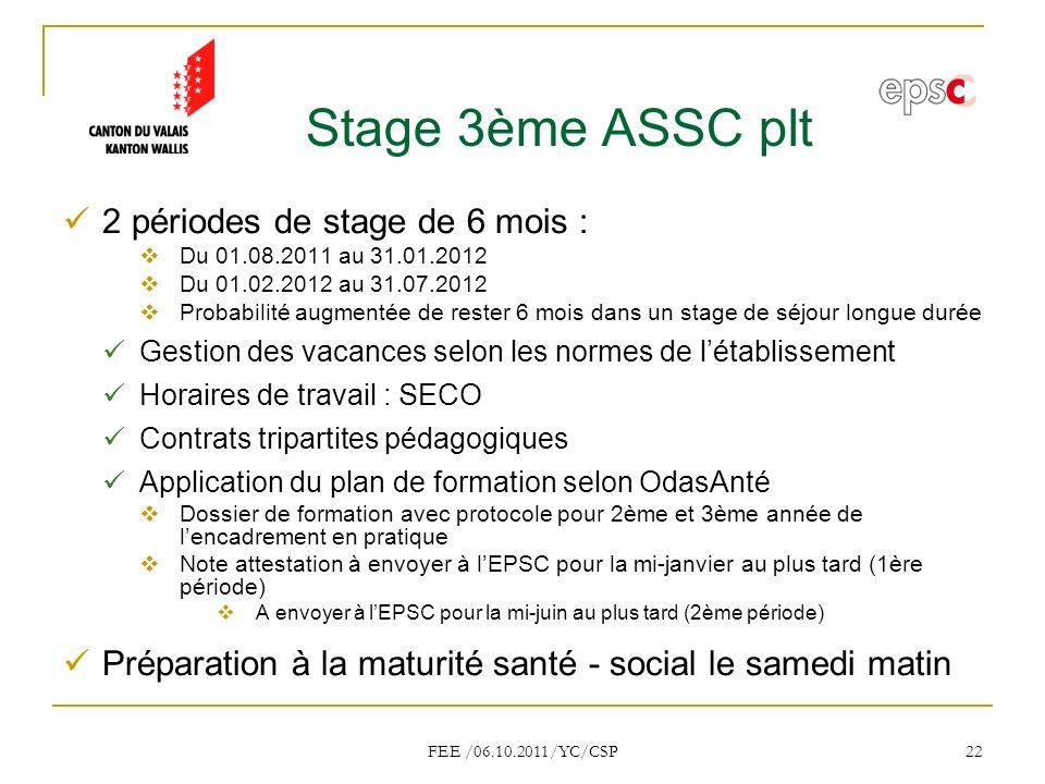 Stage 3ème ASSC plt 2 périodes de stage de 6 mois :