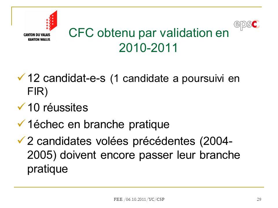 CFC obtenu par validation en 2010-2011