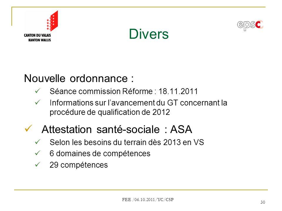 Divers Nouvelle ordonnance : Attestation santé-sociale : ASA