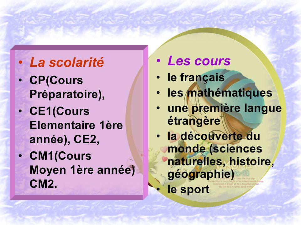 La scolarité Les cours CP(Cours Préparatoire), le français