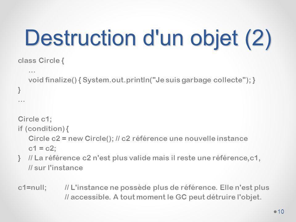 Destruction d un objet (2)