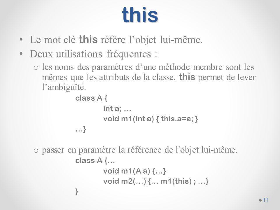 this Le mot clé this réfère l'objet lui-même.