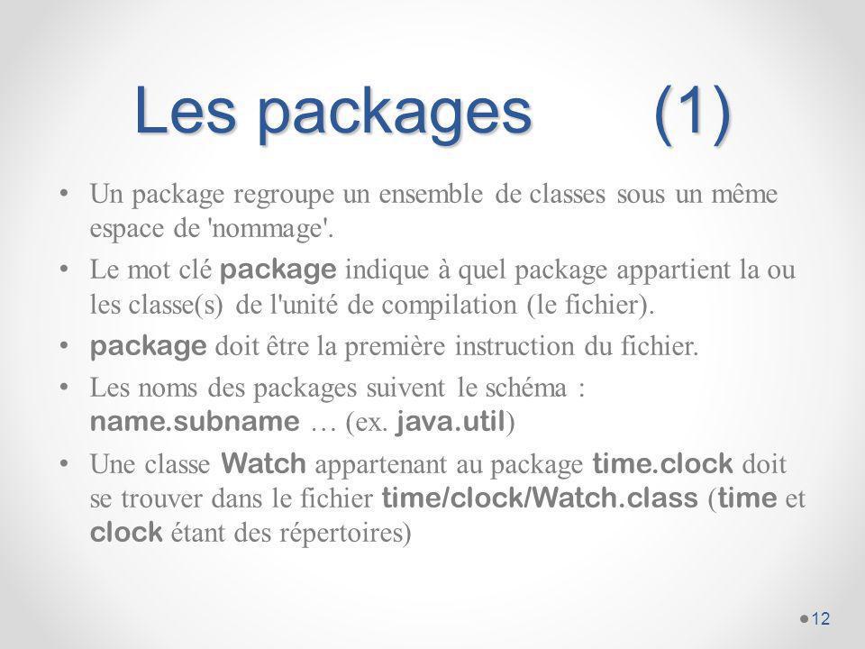 Les packages (1) Un package regroupe un ensemble de classes sous un même espace de nommage .
