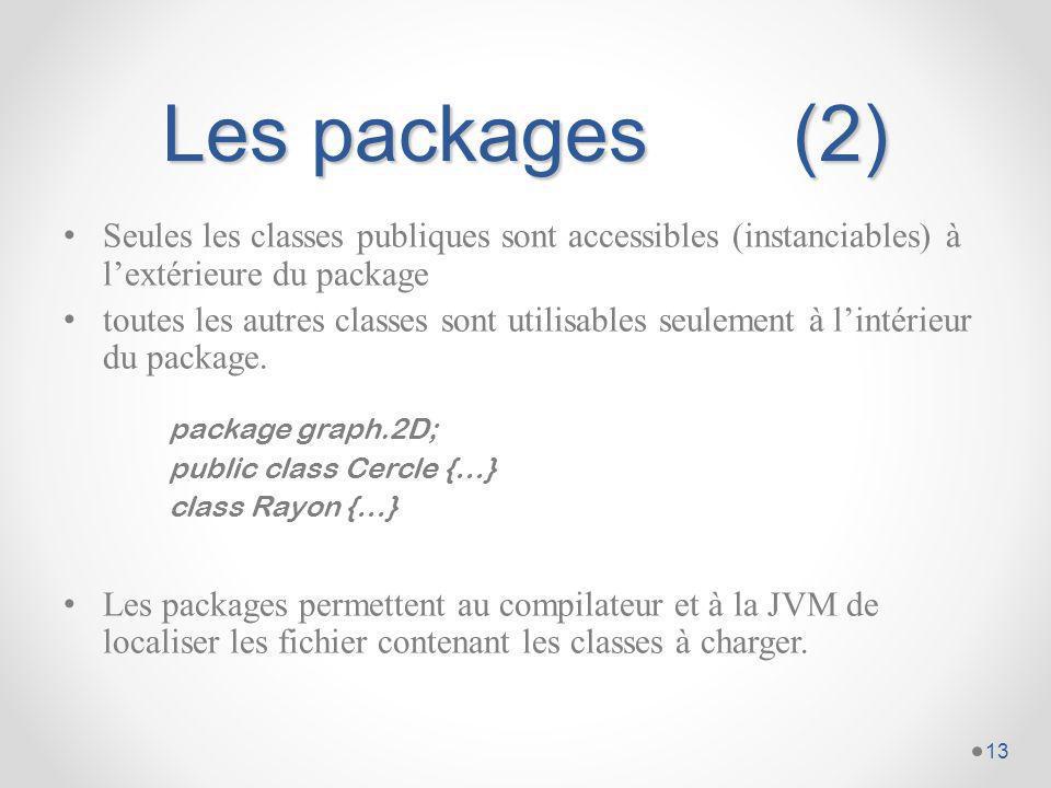 Les packages (2) Seules les classes publiques sont accessibles (instanciables) à l'extérieure du package.