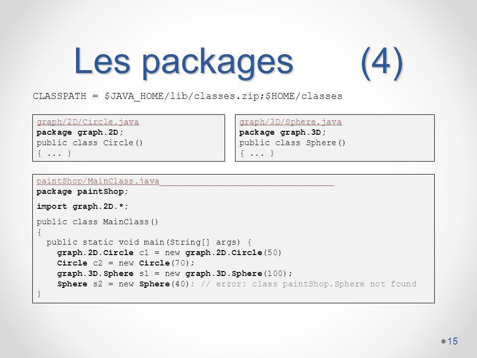 Les packages (4) CLASSPATH = $JAVA_HOME/lib/classes.zip;$HOME/classes