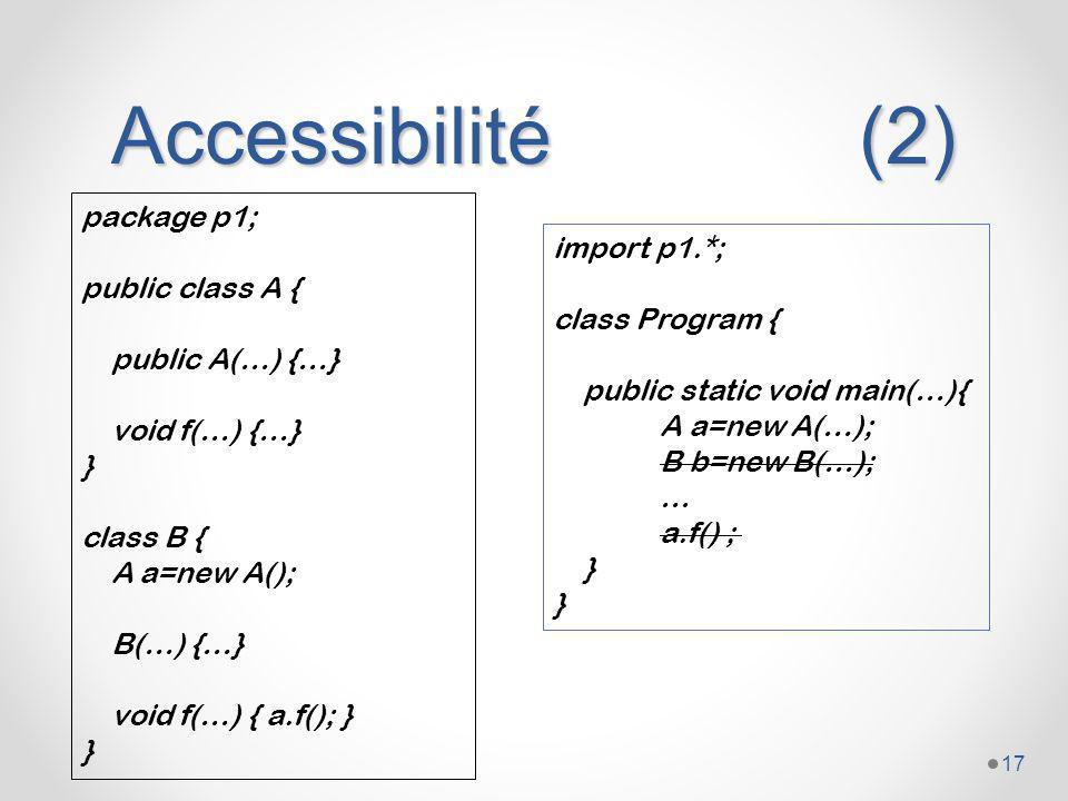 Accessibilité (2) package p1; import p1.*; public class A {