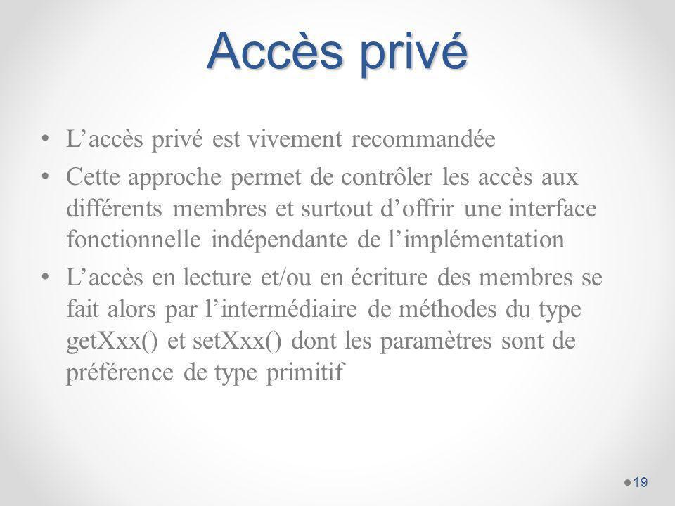 Accès privé L'accès privé est vivement recommandée