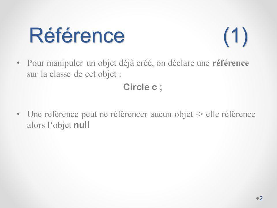 Référence (1) Pour manipuler un objet déjà créé, on déclare une référence sur la classe de cet objet :