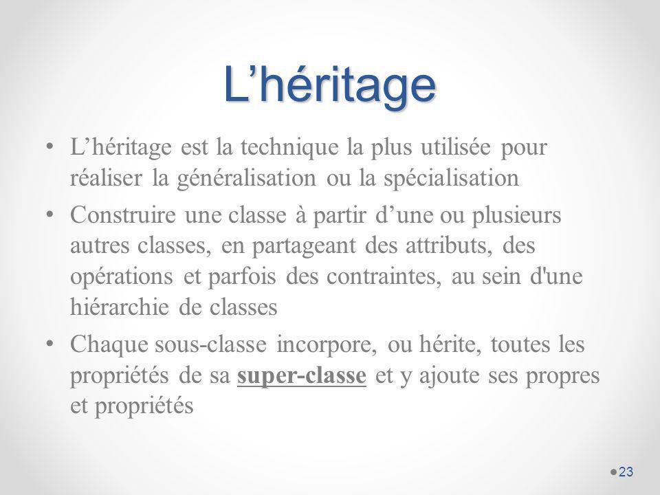 L'héritage L'héritage est la technique la plus utilisée pour réaliser la généralisation ou la spécialisation.