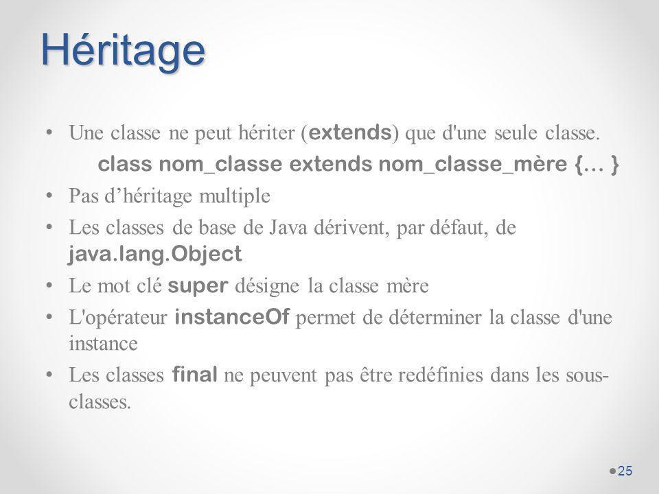 Héritage Une classe ne peut hériter (extends) que d une seule classe.