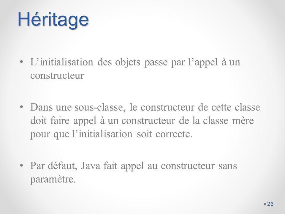 Héritage L'initialisation des objets passe par l'appel à un constructeur.