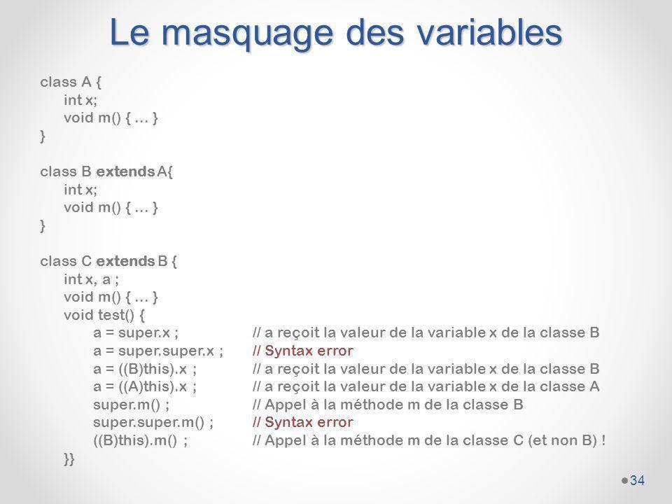Le masquage des variables