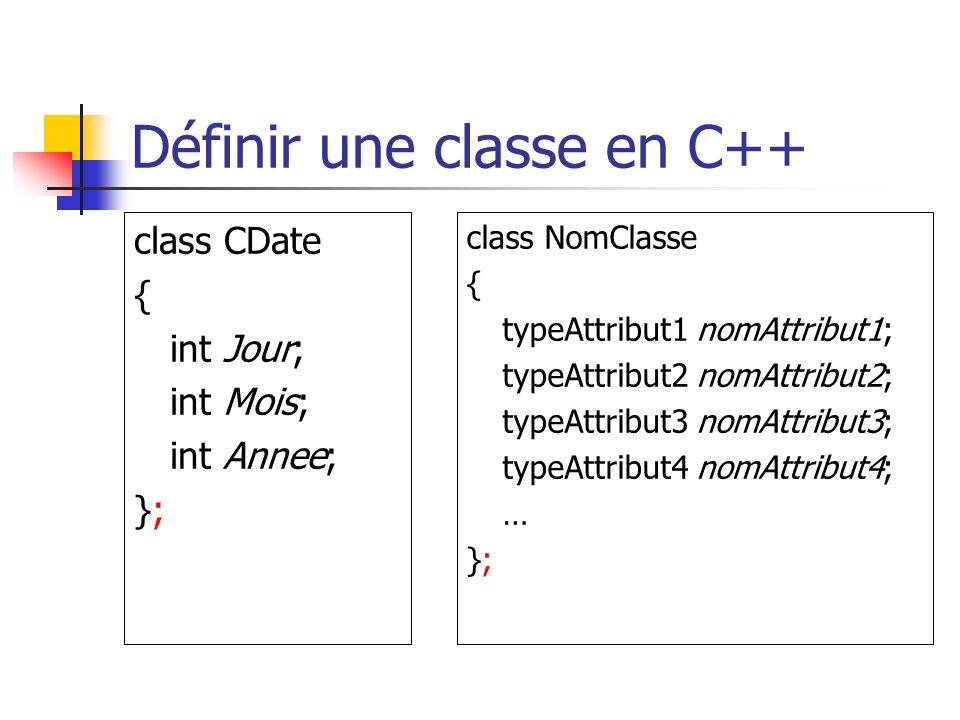 Définir une classe en C++