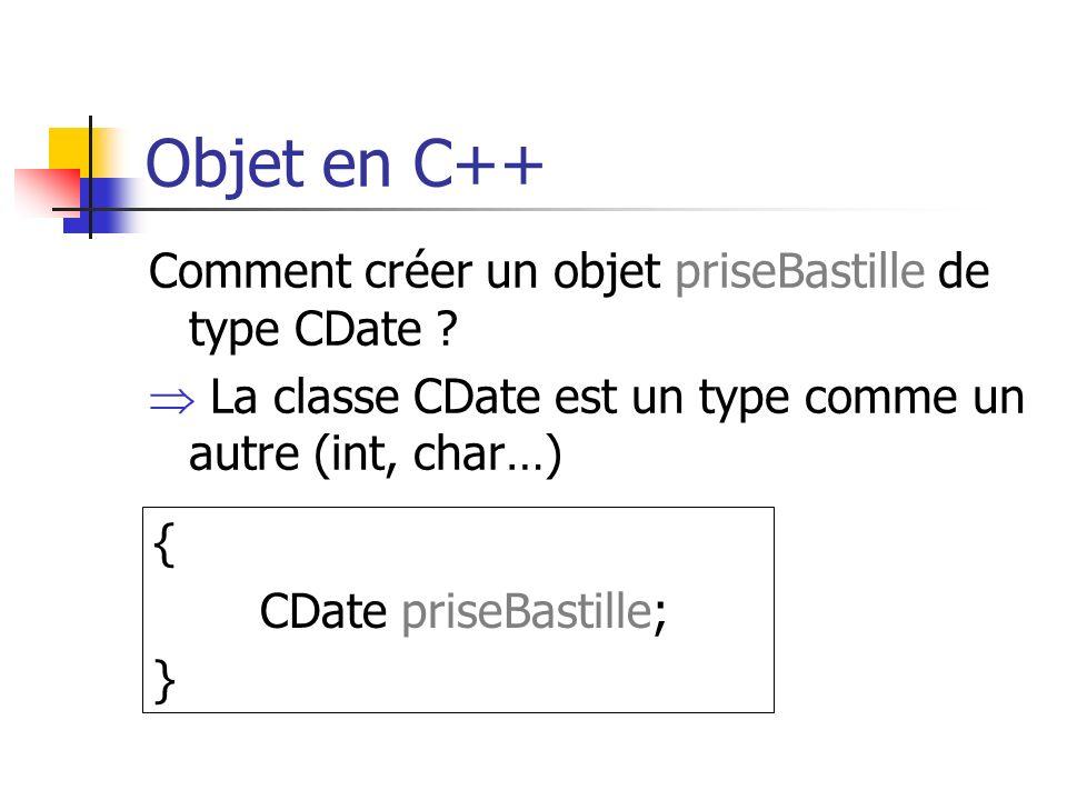 Objet en C++ Comment créer un objet priseBastille de type CDate