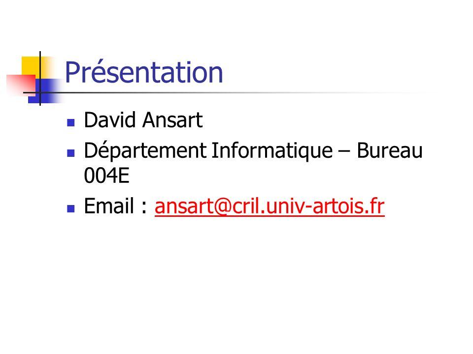 Présentation David Ansart Département Informatique – Bureau 004E