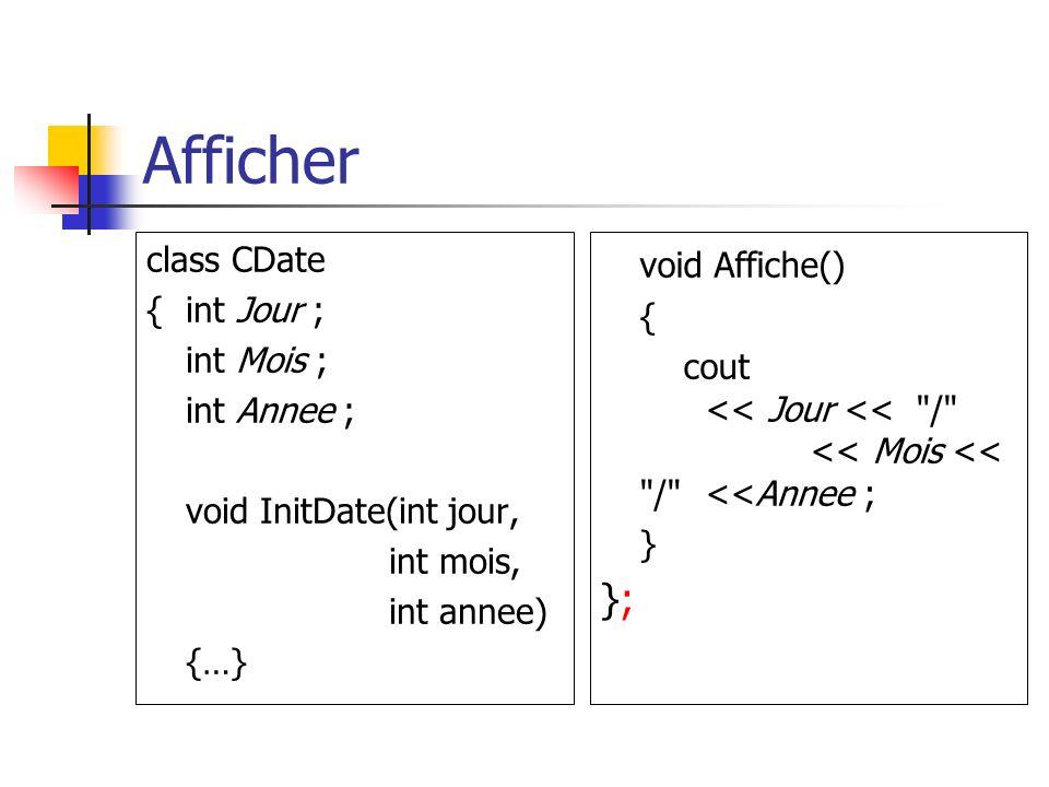 Afficher void Affiche() }; class CDate { int Jour ; { int Mois ;