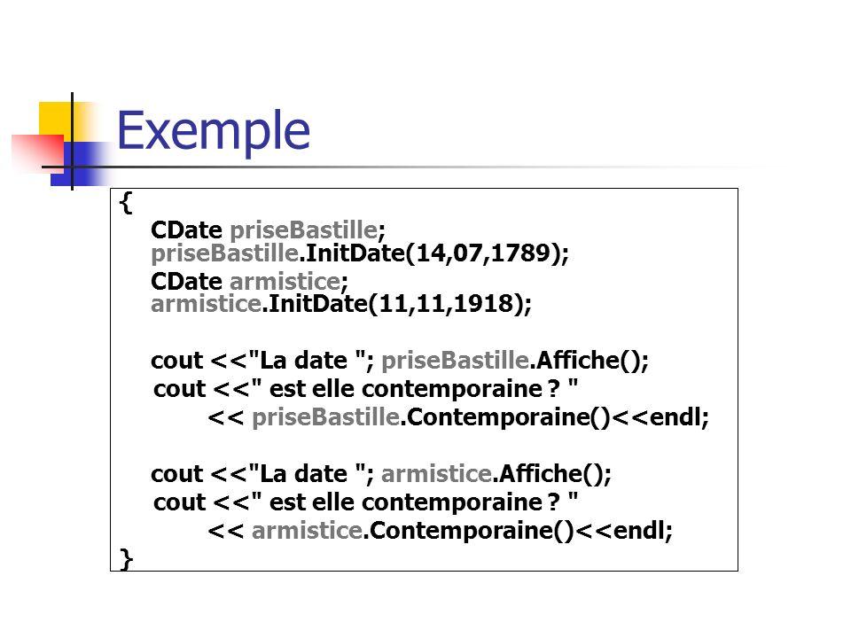 Exemple { CDate priseBastille; priseBastille.InitDate(14,07,1789);