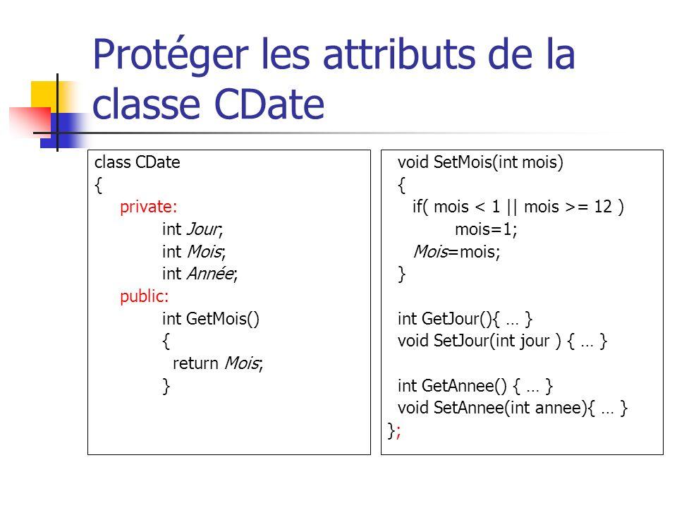 Protéger les attributs de la classe CDate