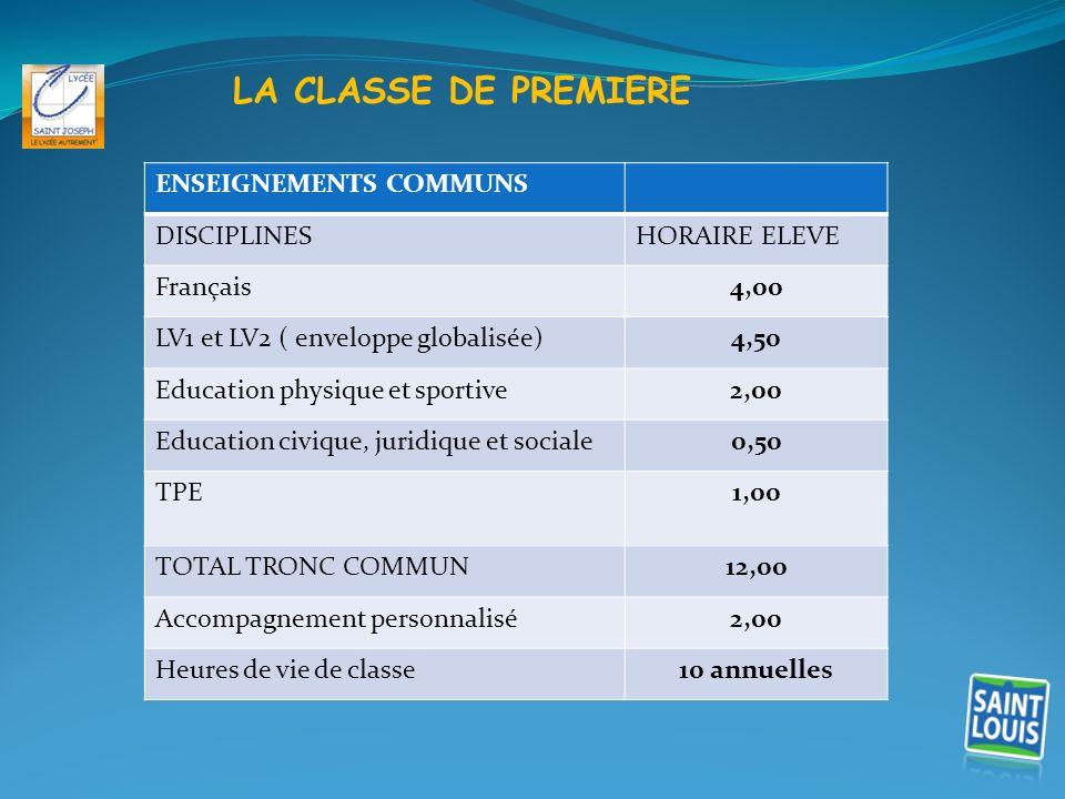 LA CLASSE DE PREMIERE ENSEIGNEMENTS COMMUNS DISCIPLINES HORAIRE ELEVE
