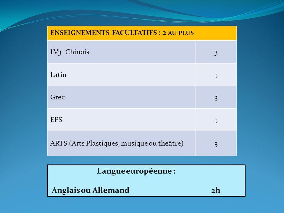 Langue européenne : Anglais ou Allemand 2h