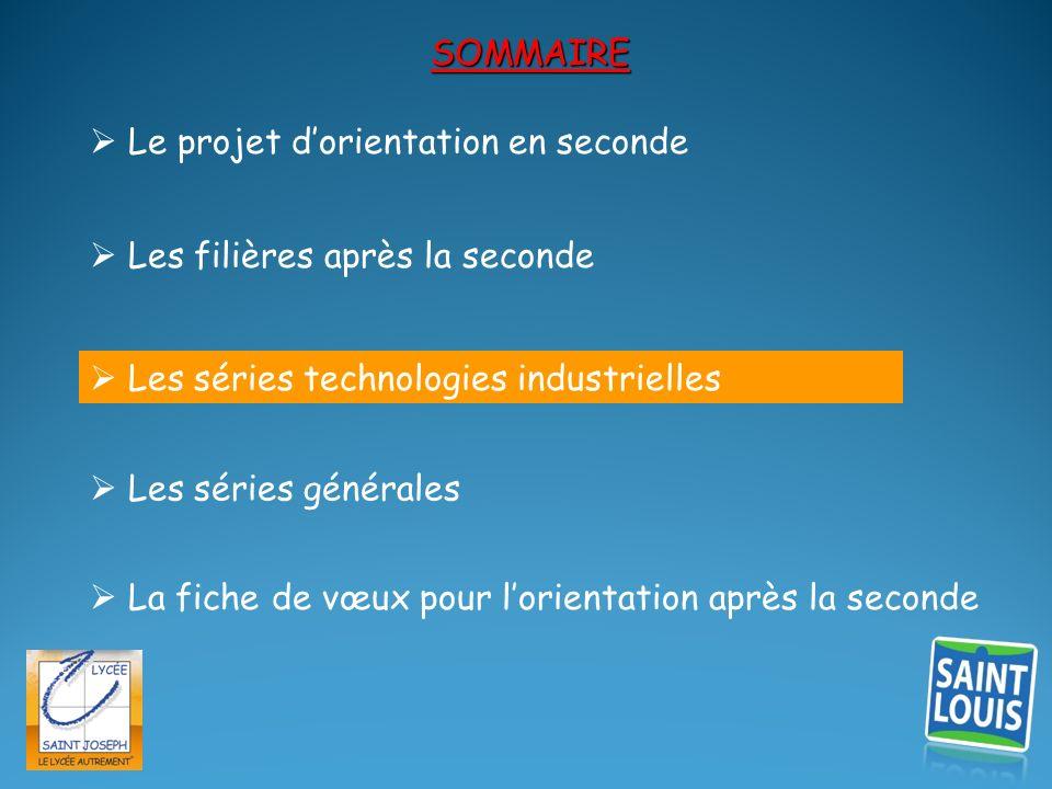 SOMMAIRE  Le projet d'orientation en seconde.  Les filières après la seconde.  Les séries technologies industrielles.