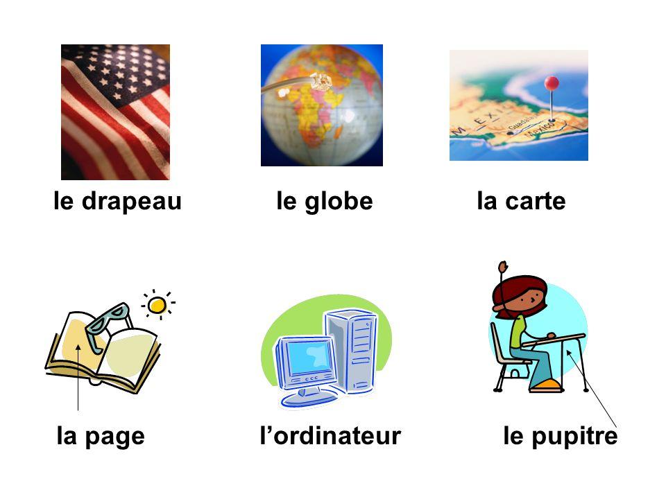 le drapeau le globe la carte la page l'ordinateur le pupitre