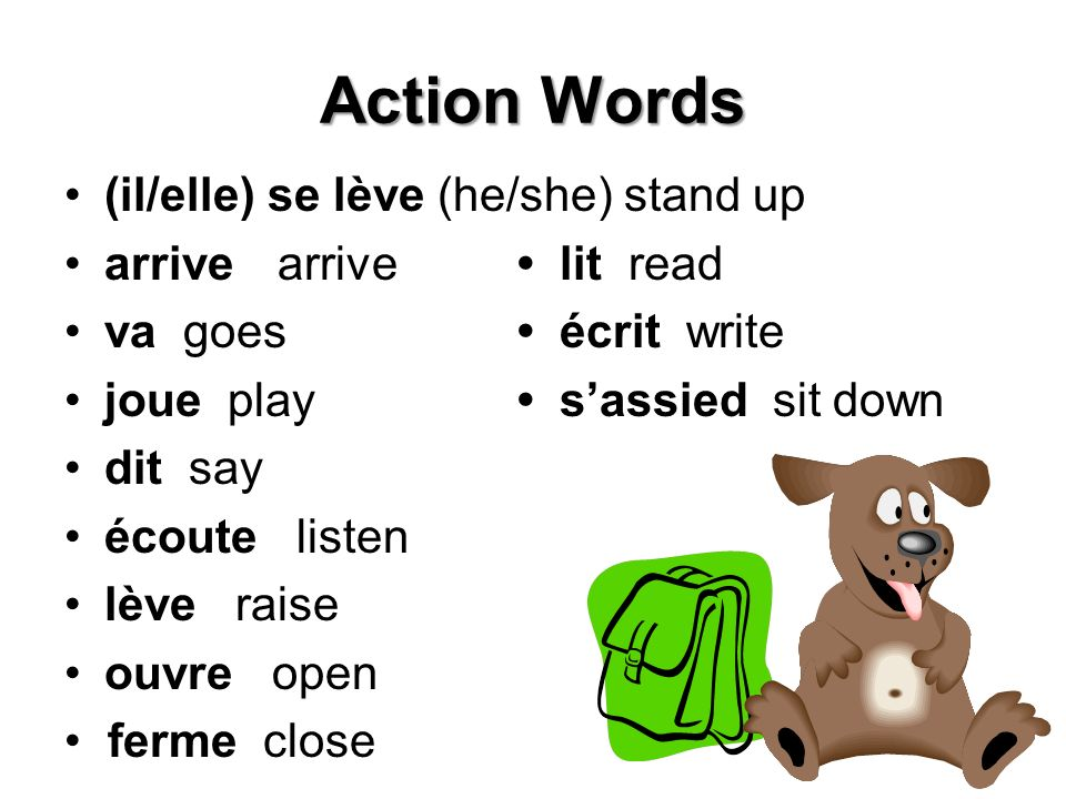 Action Words (il/elle) se lève (he/she) stand up