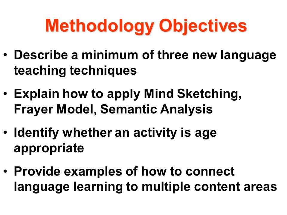 Methodology Objectives
