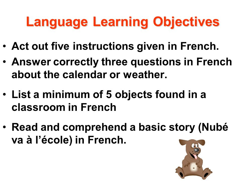 Language Learning Objectives