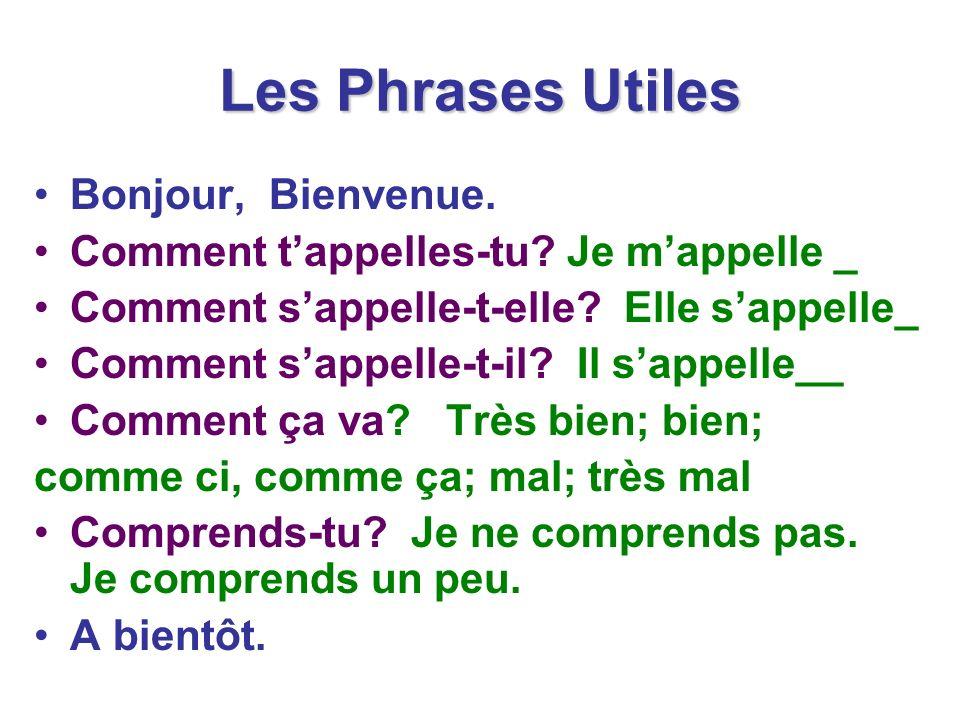 Les Phrases Utiles Bonjour, Bienvenue.