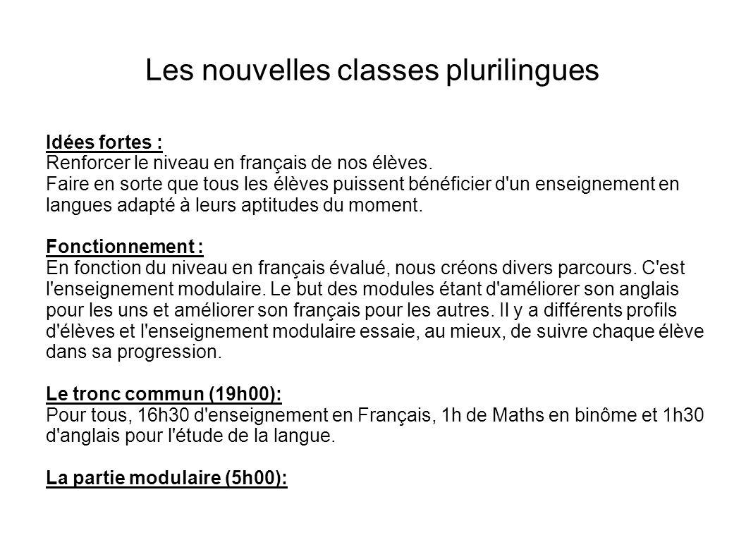 Les nouvelles classes plurilingues