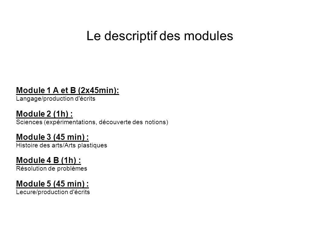 Le descriptif des modules