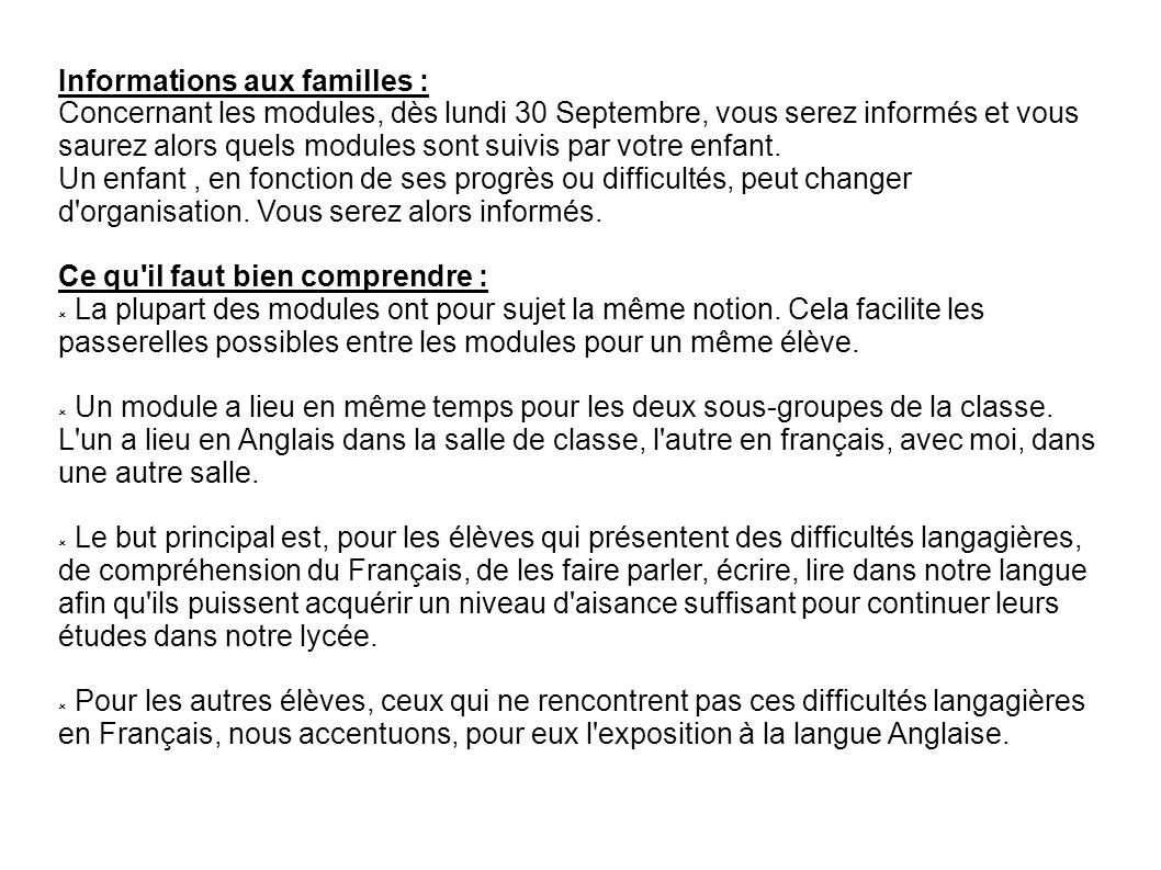 Informations aux familles :
