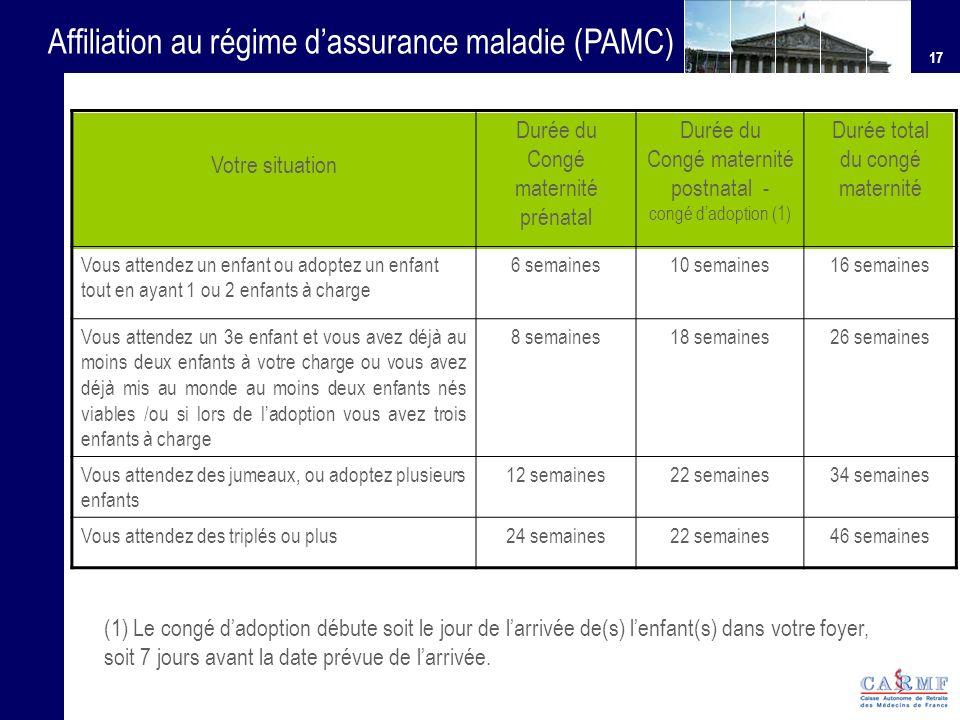 Affiliation au régime d'assurance maladie (PAMC)