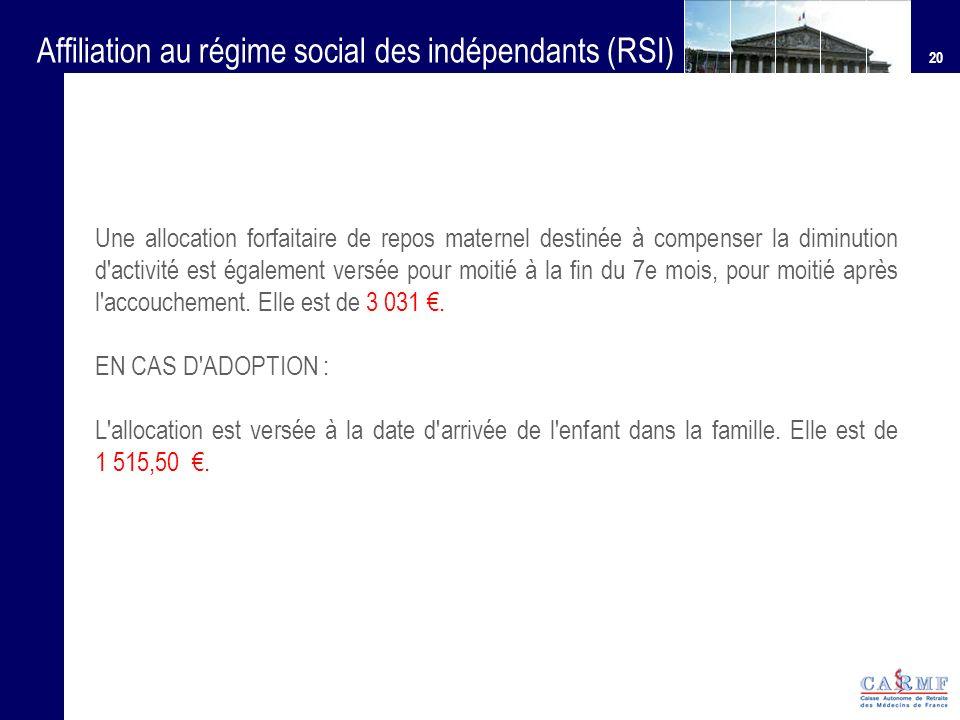 Affiliation au régime social des indépendants (RSI)