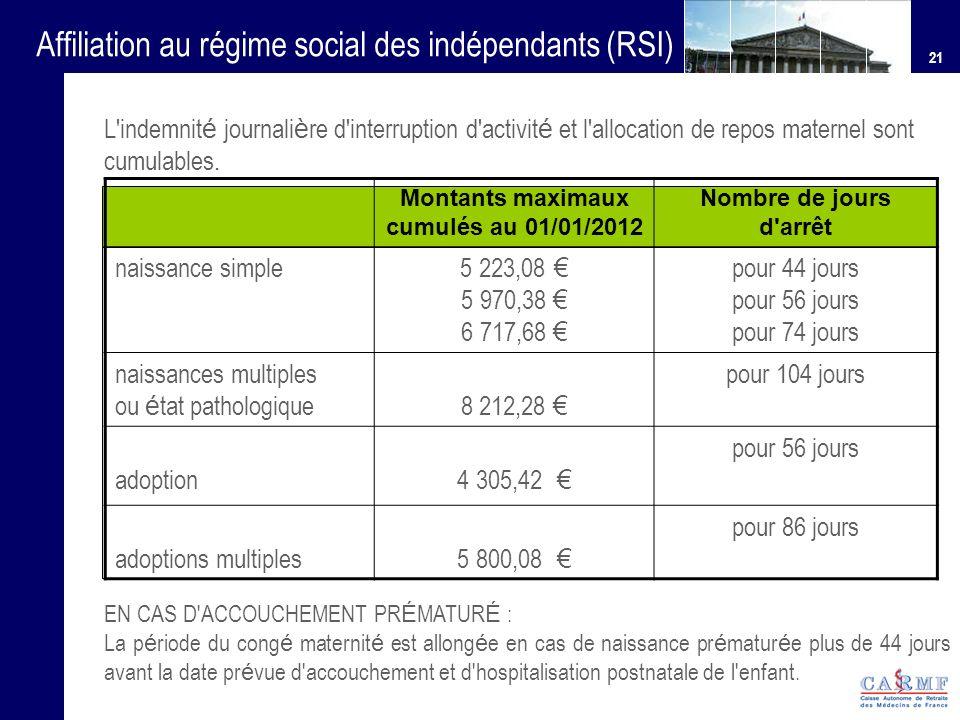 Montants maximaux cumulés au 01/01/2012