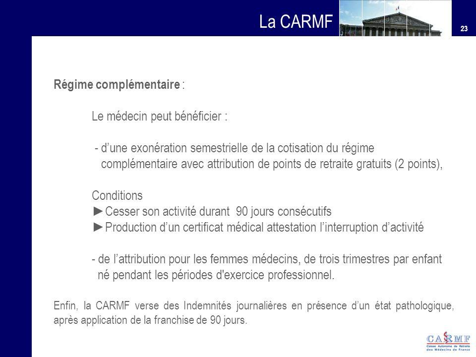 La CARMF Régime complémentaire : Le médecin peut bénéficier :