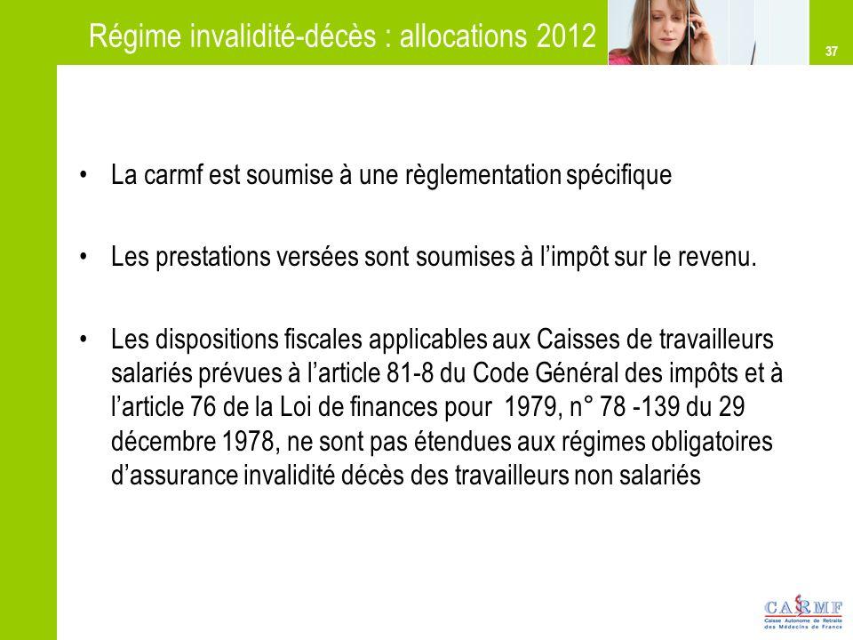 Régime invalidité-décès : allocations 2012