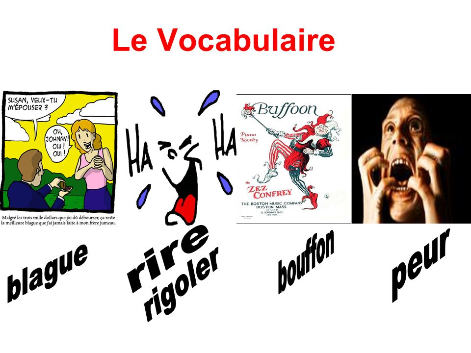 Le Vocabulaire rire bouffon peur blague rigoler