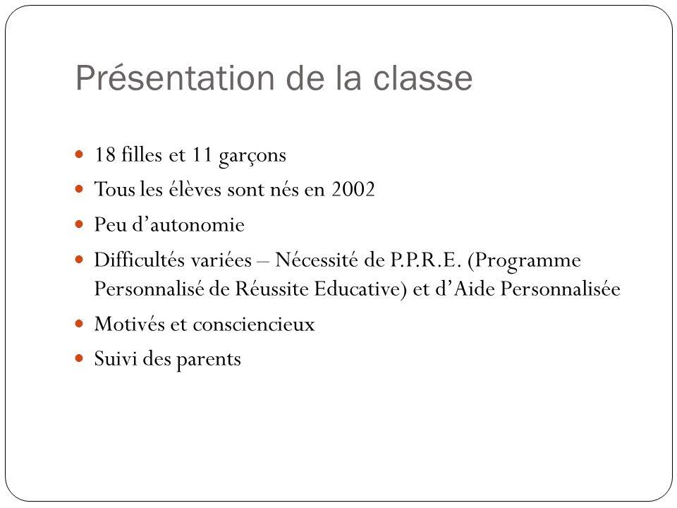 Présentation de la classe