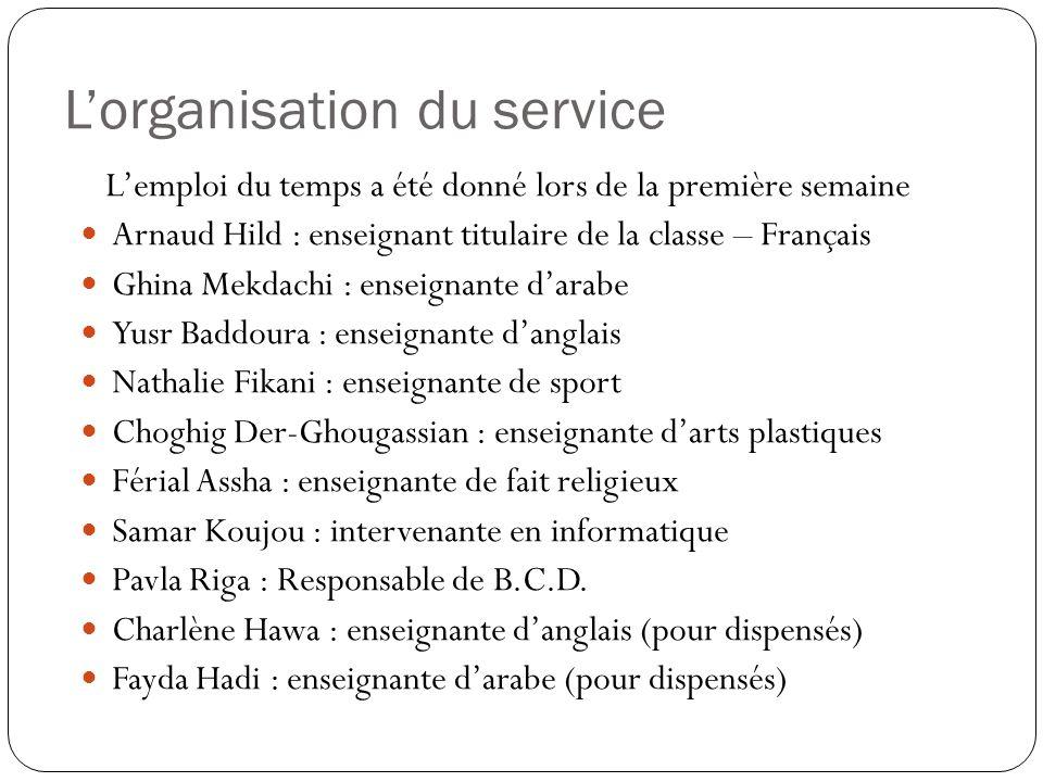 L'organisation du service