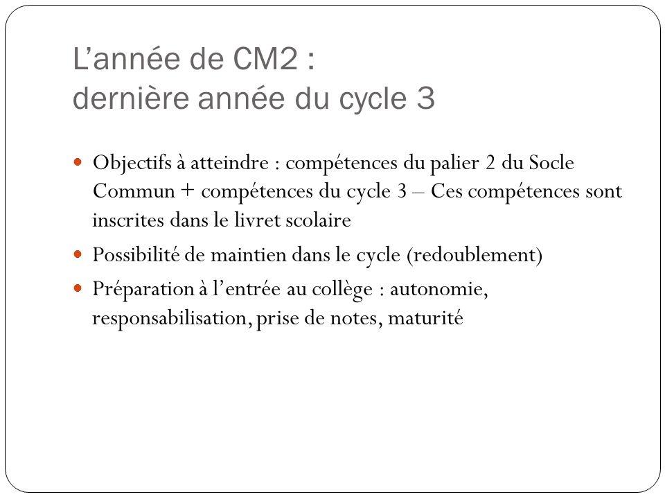 L'année de CM2 : dernière année du cycle 3