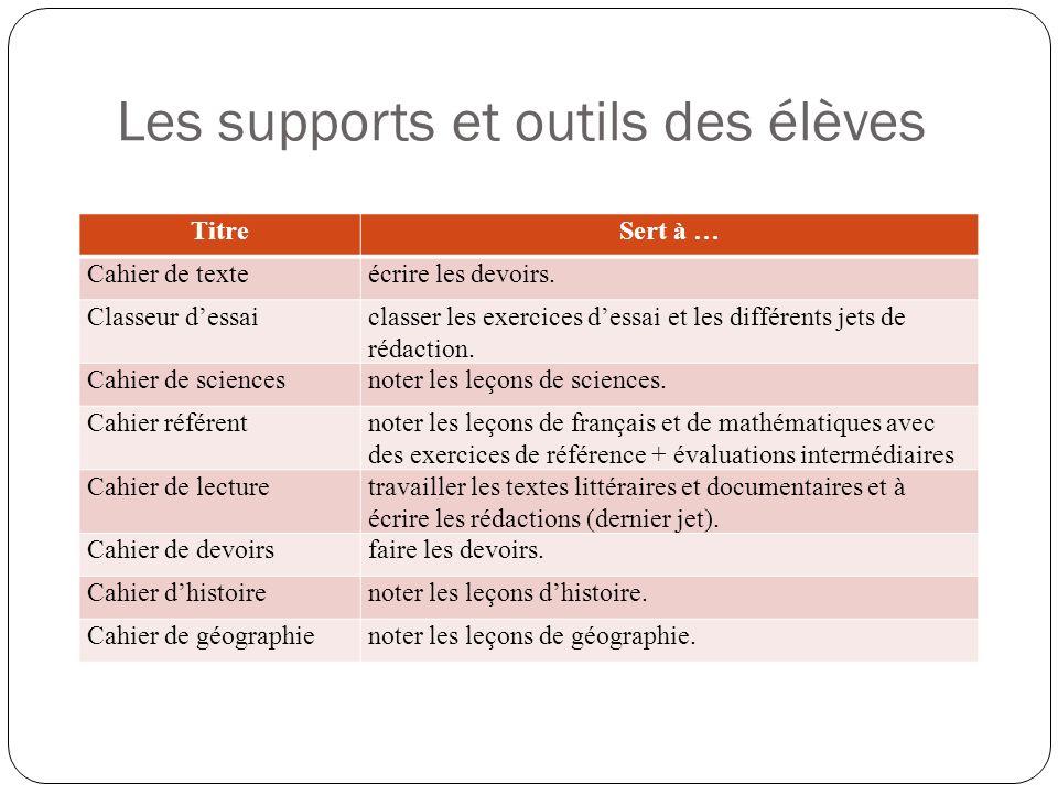 Les supports et outils des élèves