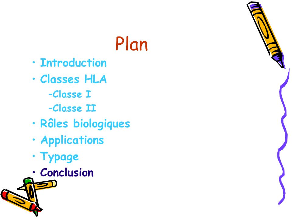 Plan Introduction Classes HLA Rôles biologiques Applications Typage