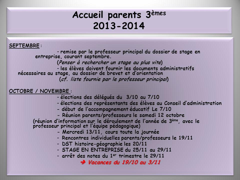 Accueil parents 3èmes 2013-2014  Vacances du 19/10 au 3/11