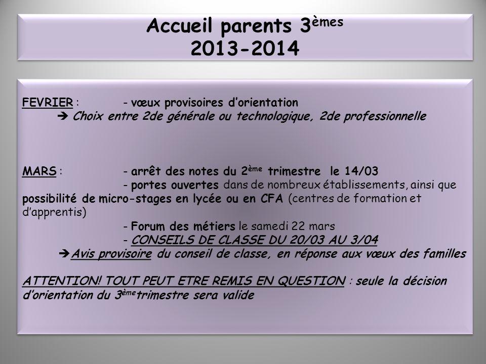 Accueil parents 3èmes 2013-2014 FEVRIER : - vœux provisoires d'orientation.  Choix entre 2de générale ou technologique, 2de professionnelle.