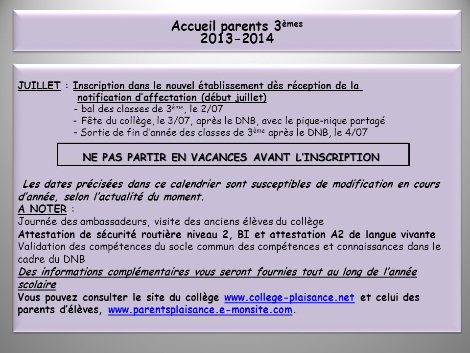 Accueil parents 3èmes 2013-2014