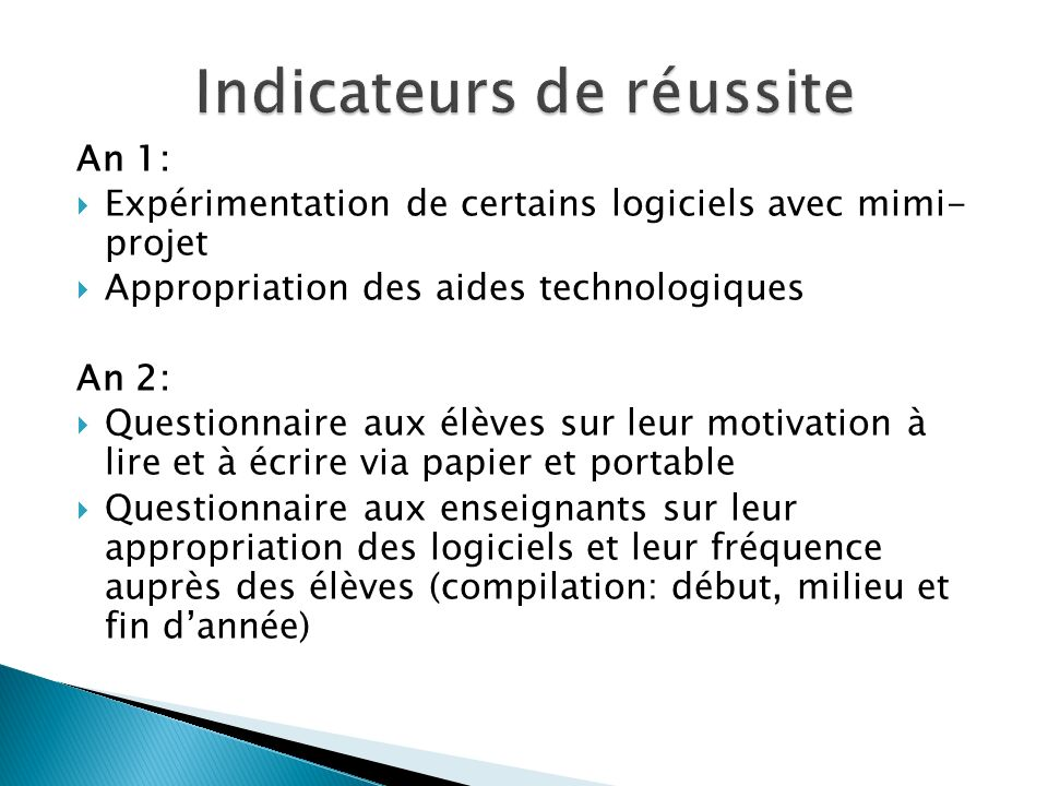 Indicateurs de réussite