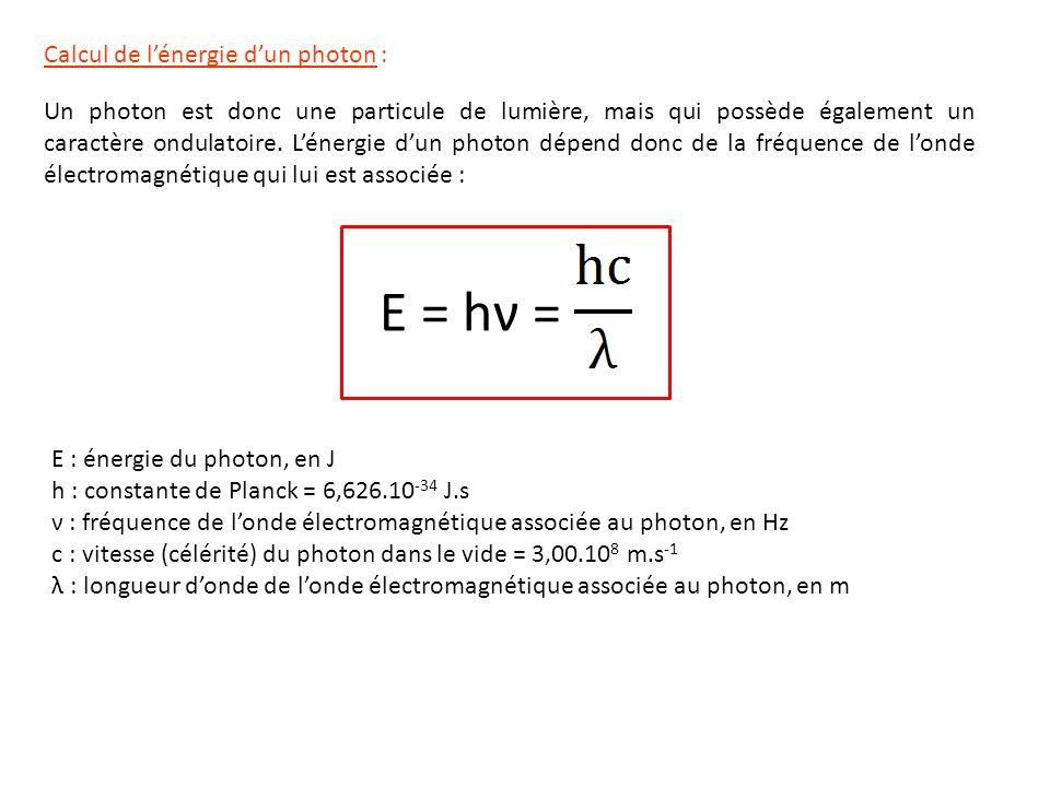 E = hν = Calcul de l'énergie d'un photon :