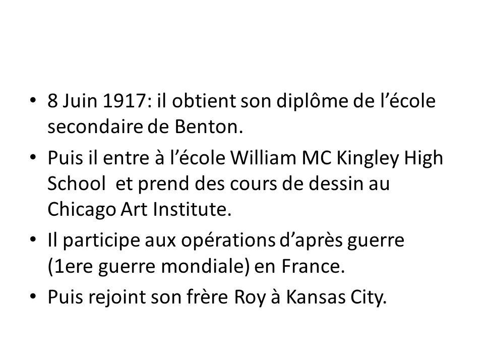8 Juin 1917: il obtient son diplôme de l'école secondaire de Benton.